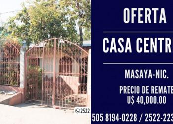 VENDO CASA CENTRICA EN MASAYA